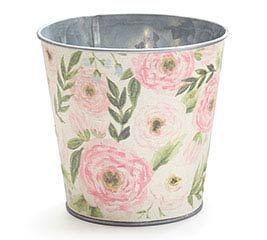 "4"" WATERCOLOR FLORAL LINEN POT COVER"
