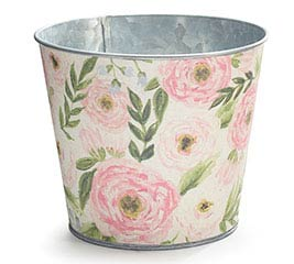 "6"" WATERCOLOR FLORAL LINEN POT COVER"