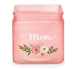 PINK CUBE VASE WITH MOM MESSAGE