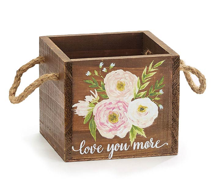 SQUARE PLANTER WITH FLOWERS  MESSAGE