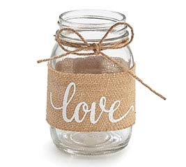 PINT MASON JAR BURLAP WITH LOVE MESSAGE