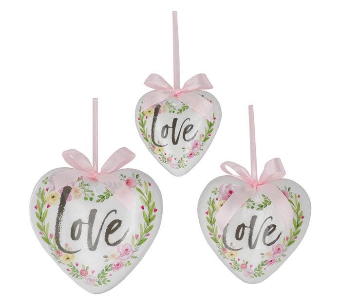 ORNAMENT ASTD SIZE HEART SHAPE WITH LOVE