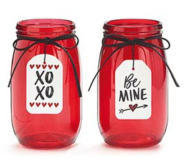 "RED GLASS VASE ""BE MINE""  ""XO XO"""