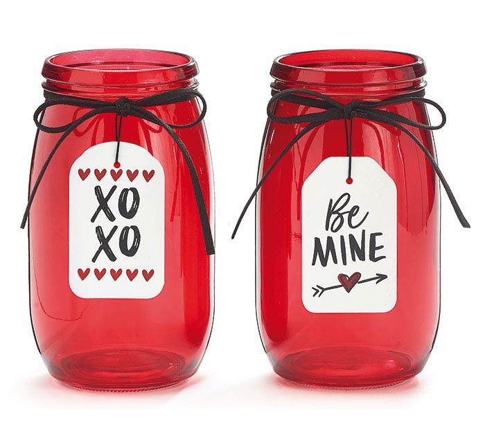 BE MINE AND XO XO VALENTINE VASE ASST