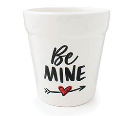 "4"" BE MINE CERAMIC PLANTER WITH ARROW"