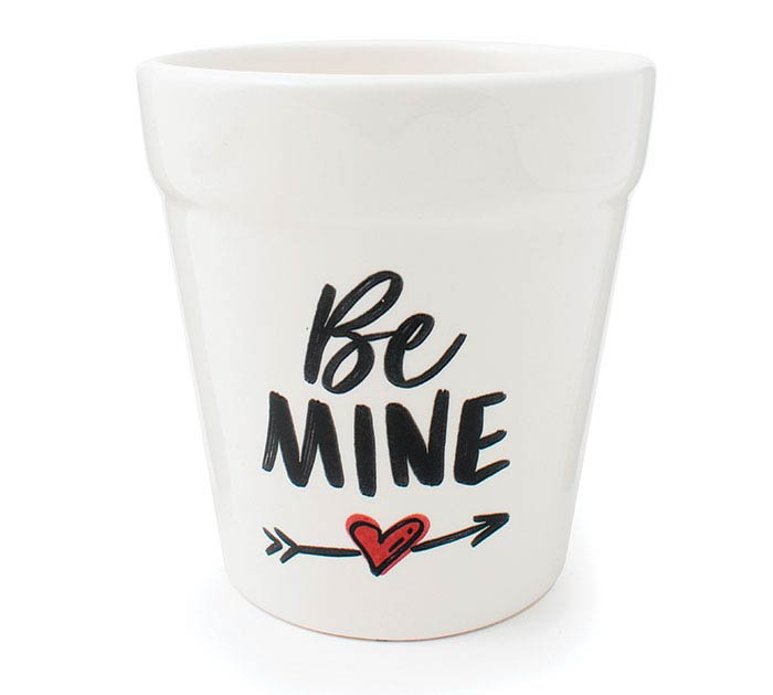 "4""VALENTINE BE MINE CERAMIC PLANTER"