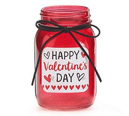 PINT MASON JAR HAPPY VALENTINE'S DAY RED