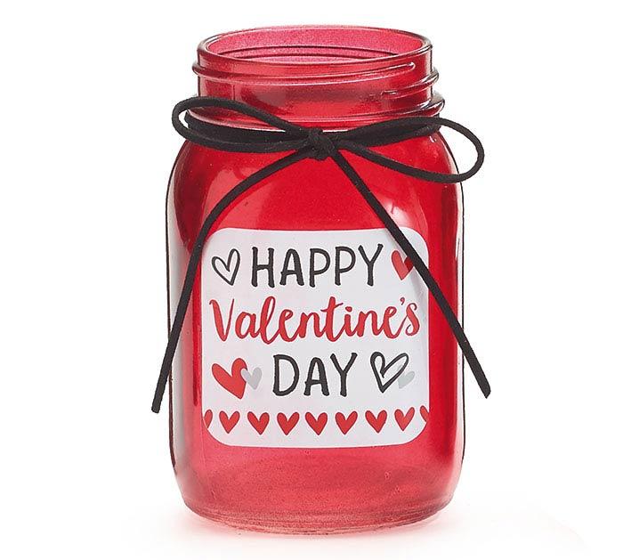 PINT MASON JAR HAPPY VALENTINE'S DAY RED