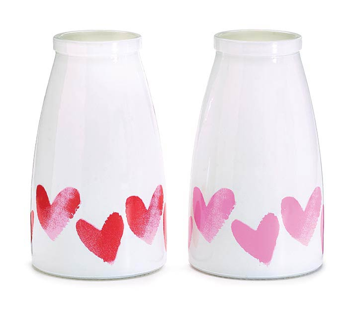 HEARTS AND LOVE VALENTINE VASE ASST