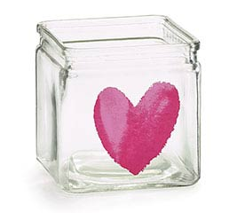 CLEAR GLASS CUBE PINK HEART VALENTINE