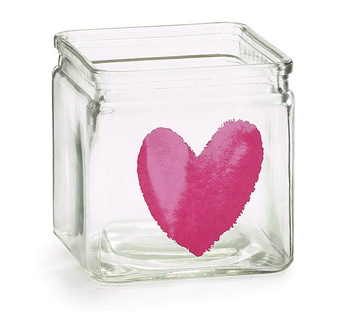 VALENTINE HEART CLEAR GLASS CUBE VASE