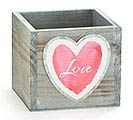 GRAY WOOD BOX PLANTER WITH LOVE HEART