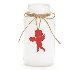 VASE JAR SHAPE WHITE WITH RED CUPID