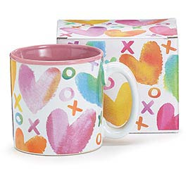 13OZ MUG WITH WATERCOLOR HEARTS AROUND