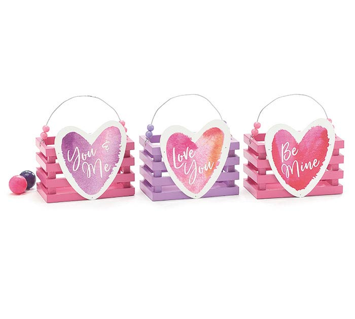 ASSORTED VALENTINE CRATES WITH HEARTS