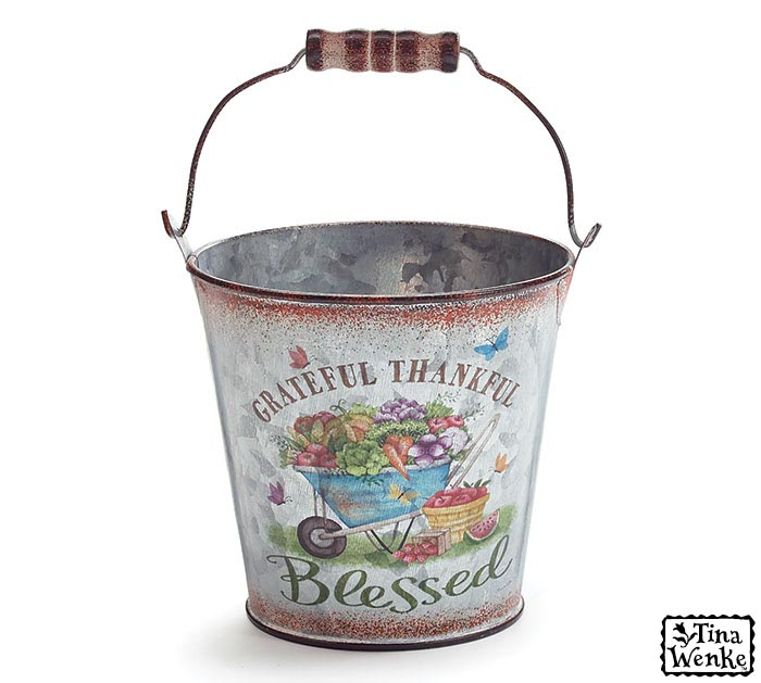 VEGETABLE FILLED WHEELBARROW TIN PAIL