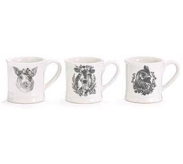 BLACK DECAL FARM ANIMALS ON MUG