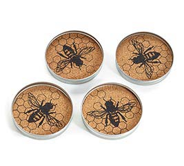 JAR LID COASTER SET W/ HONEY BEE DESIGN