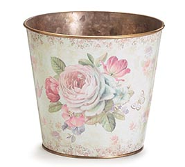 VICTORIAN ROSE POT COVER WITH BUTTERFLY