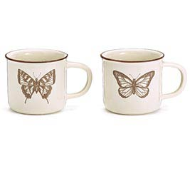 BROWN STENCIL DECAL BUTTERFLY MUGS