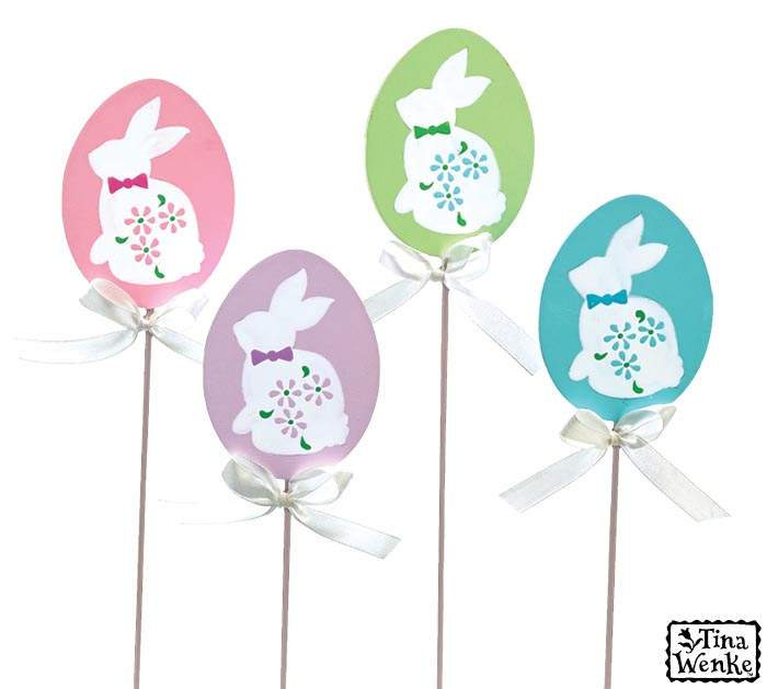EGG SHAPE PICK WITH BUNNY SILHOUETTE