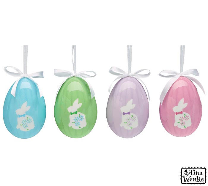 """ORN 4"""" PASTEL EGGS WITH BUNNIES"""