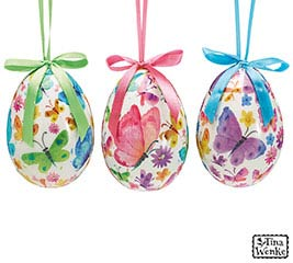 "4"" EGG SHAPE ORNAMENT WITH BUTTERFLIES"