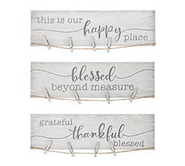 RUSTIC WHITE PHOTO HOLDER WITH MESSAGES