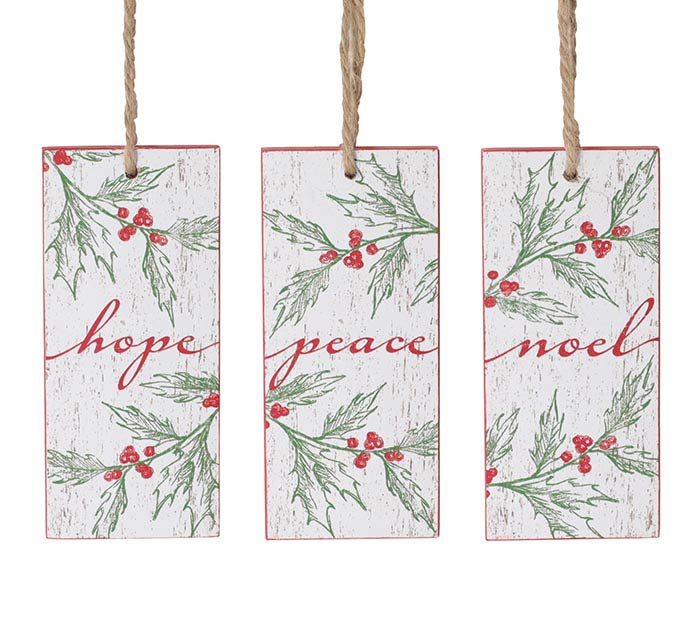 MESSAGE ORNAMENTS WITH HOLLY PATTERN