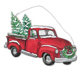 OLD TIMEY RED TRUCK WALL HANGING
