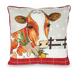 DOWN HOME HOLIDAY SQUARE COW PILLOW