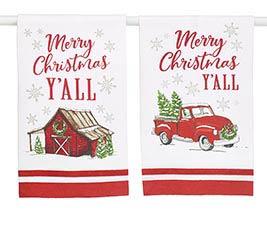 MERRY CHRISTMAS Y'ALL ASTD TEA TOWEL SET