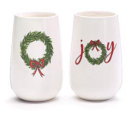 WREATH DECAL ASTD CERAMIC VASES