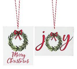 MERRY CHRISTMAS AND JOY ORNAMENT ASST