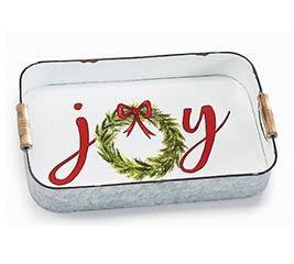 TIN TRAY WITH JOY CHRISTMAS WREATH