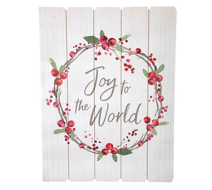 JOY TO THE WORLD RED BERRY WREATH SIGN