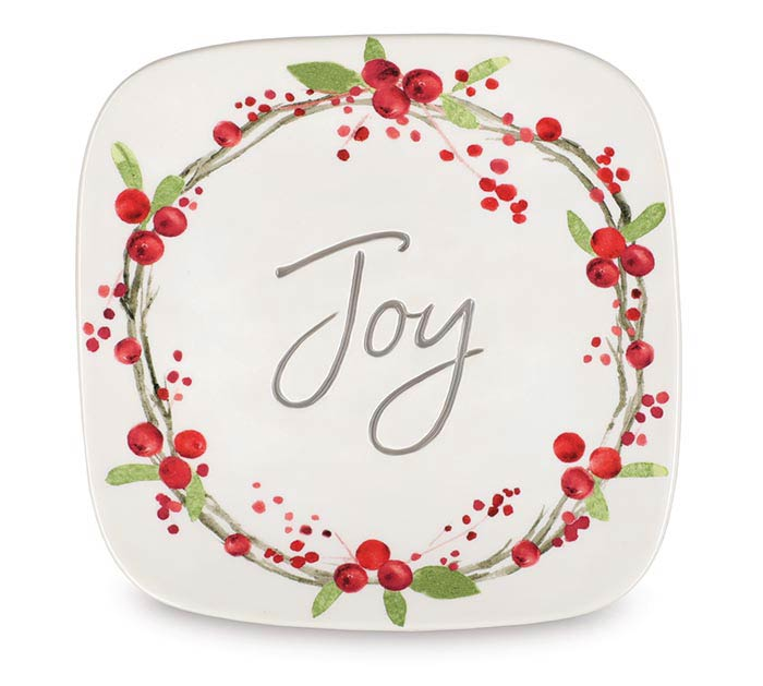 BERRY WREATH PLATE WITH JOY IN CENTER