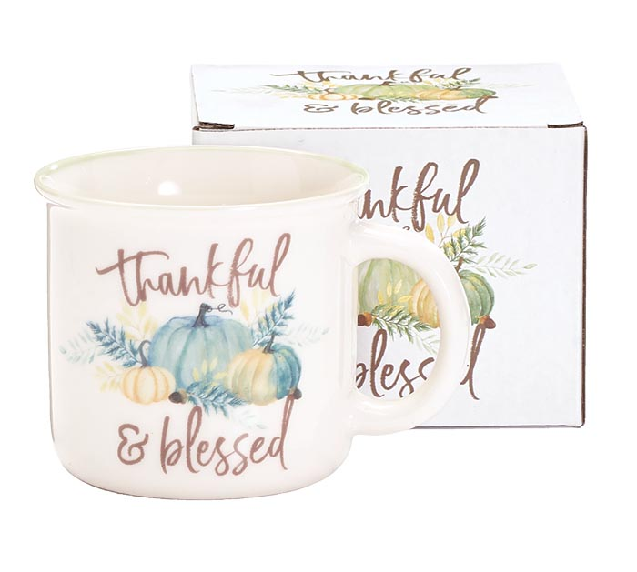 THANKFUL AND BLESSED PUMPKIN MUG