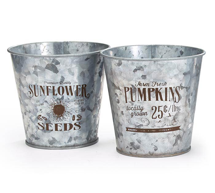 "4"" TIN PUMPKIN  SUNFLOWER POT COVER"
