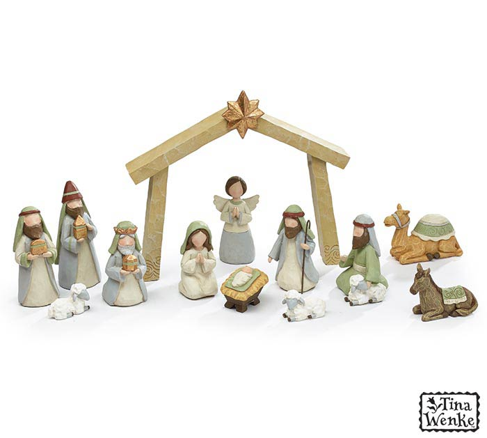 13 PIECE NATIVITY SET INCLUDING CRECHE