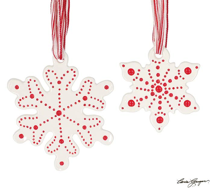 RED/WHITE SNOWFLAKE SHAPE ORNAMENT