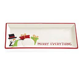 MERRY EVERYTHING SNOWMAN TRAY