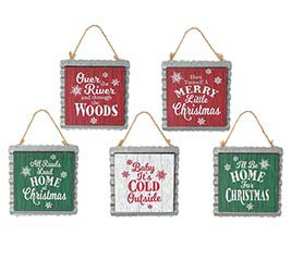 MESSAGE ORNAMENT ASTD WITH TIN BACKING