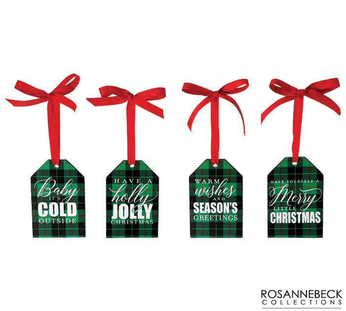 PLAID ORNAMENTS WITH ASSORTED MESSAGES