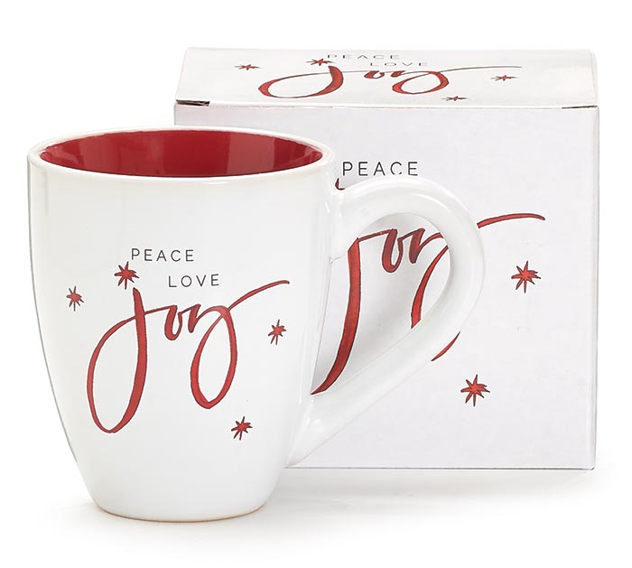 PEACE LOVE AND JOY MUG WITH RED INTERIOR