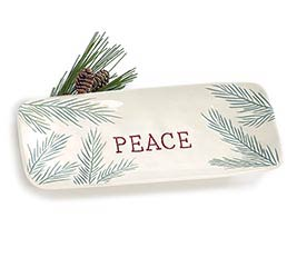 PINE NEEDLE TRAY WITH PEACE IN CENTER