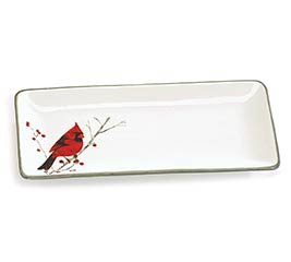 RED CARDINAL PERCHED ON BRANCH TRAY