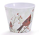 "4"" CARDINAL WINTER MELAMINE POT COVER 1st Alternate Image"