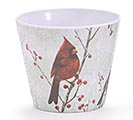 "4"" CARDINAL WINTER MELAMINE POT COVER"