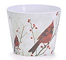 "6"" WINTER CARDINAL MELAMINE POT COVER 1st Alternate Image"